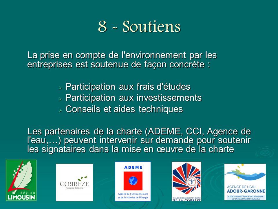 8 - Soutiens La prise en compte de l'environnement par les entreprises est soutenue de façon concrète : Participation aux frais d'études Participation