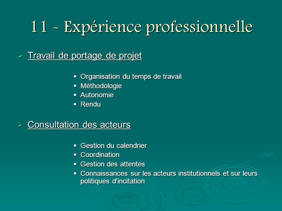 11 - Expérience professionnelle Travail de portage de projet Travail de portage de projet Organisation du temps de travail Organisation du temps de tr