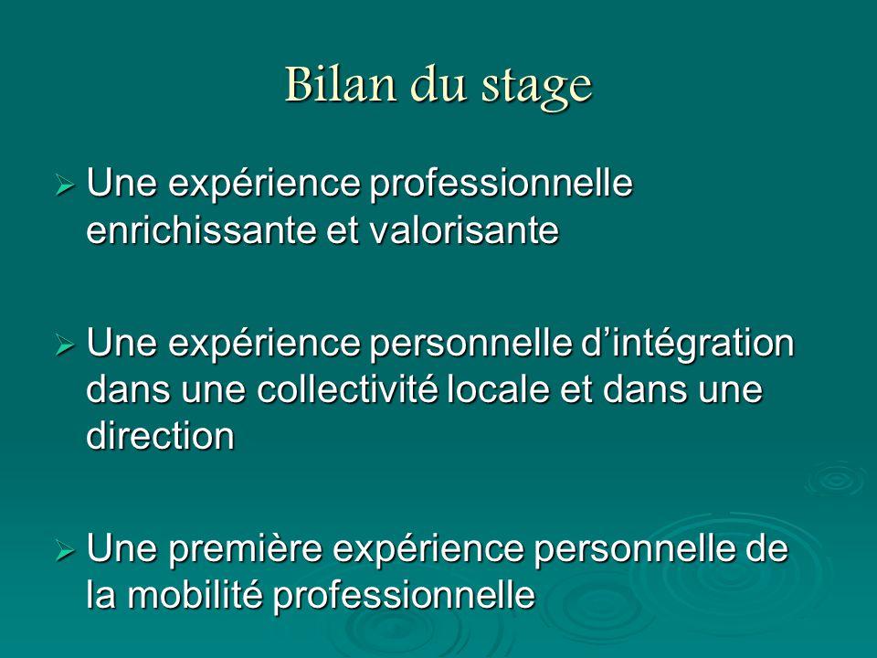 Bilan du stage Une expérience professionnelle enrichissante et valorisante Une expérience professionnelle enrichissante et valorisante Une expérience