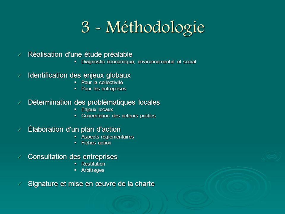 3 - Méthodologie Réalisation d'une étude préalable Réalisation d'une étude préalable Diagnostic économique, environnemental et social Diagnostic écono