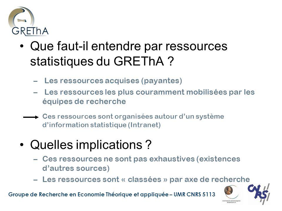 Groupe de Recherche en Economie Théorique et appliquée – UMR CNRS 5113 Que faut-il entendre par ressources statistiques du GREThA .