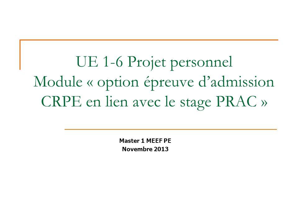 UE 1-6 Projet personnel Module « option épreuve dadmission CRPE en lien avec le stage PRAC » Master 1 MEEF PE Novembre 2013
