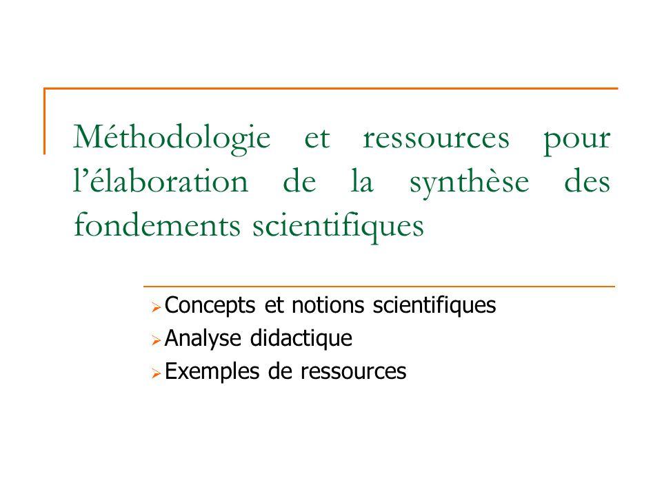 Méthodologie et ressources pour lélaboration de la synthèse des fondements scientifiques Concepts et notions scientifiques Analyse didactique Exemples