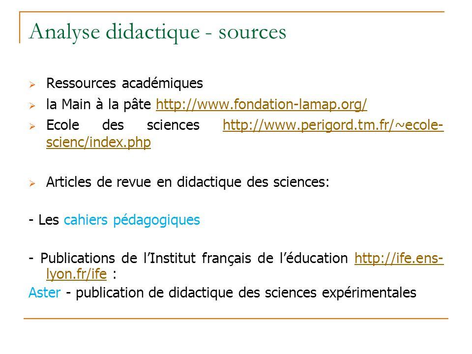 Analyse didactique - sources Ressources académiques la Main à la pâte http://www.fondation-lamap.org/http://www.fondation-lamap.org/ Ecole des science