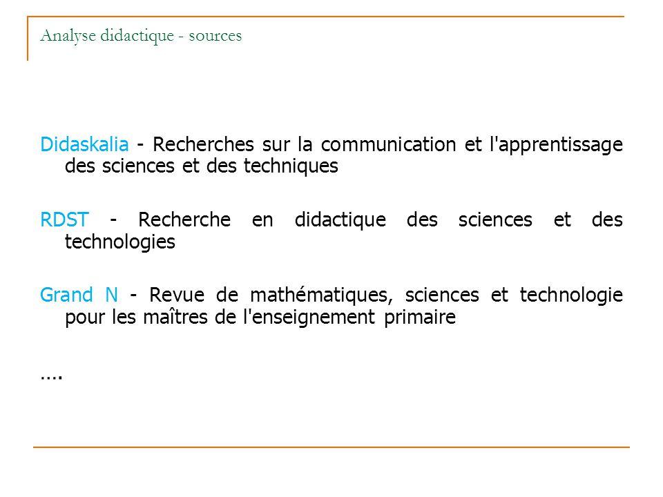 Analyse didactique - sources Didaskalia - Recherches sur la communication et l'apprentissage des sciences et des techniques RDST - Recherche en didact