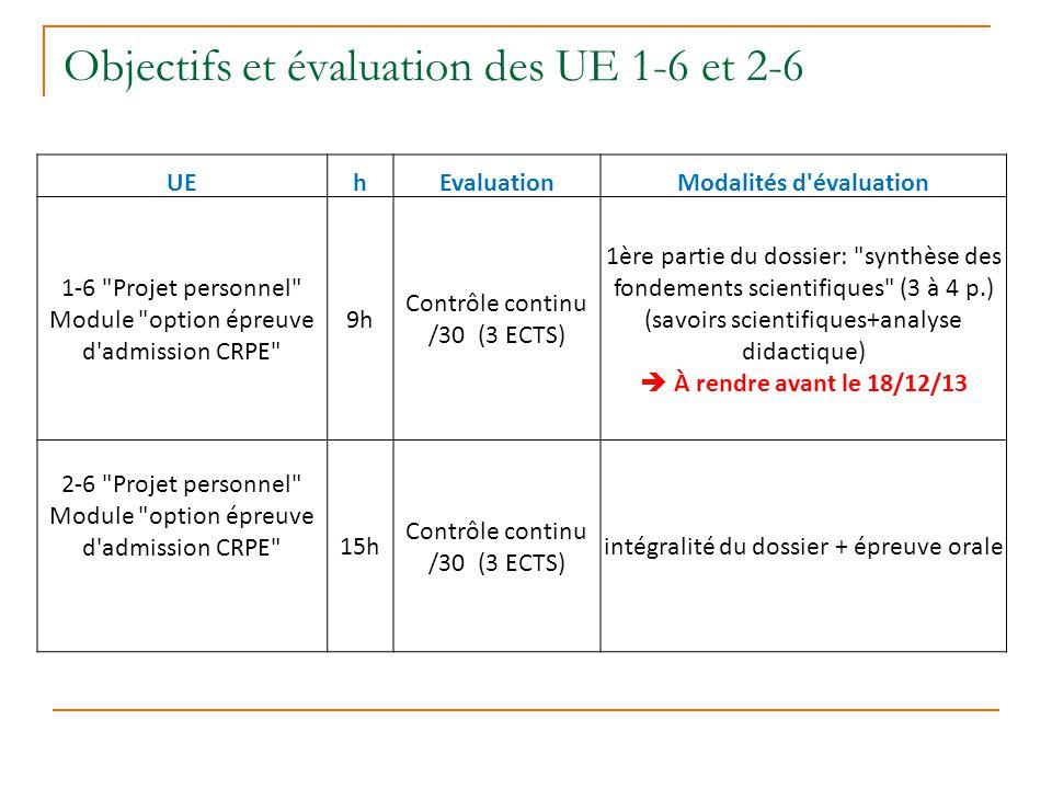 Objectifs et évaluation des UE 1-6 et 2-6 UEhEvaluationModalités d'évaluation 1-6
