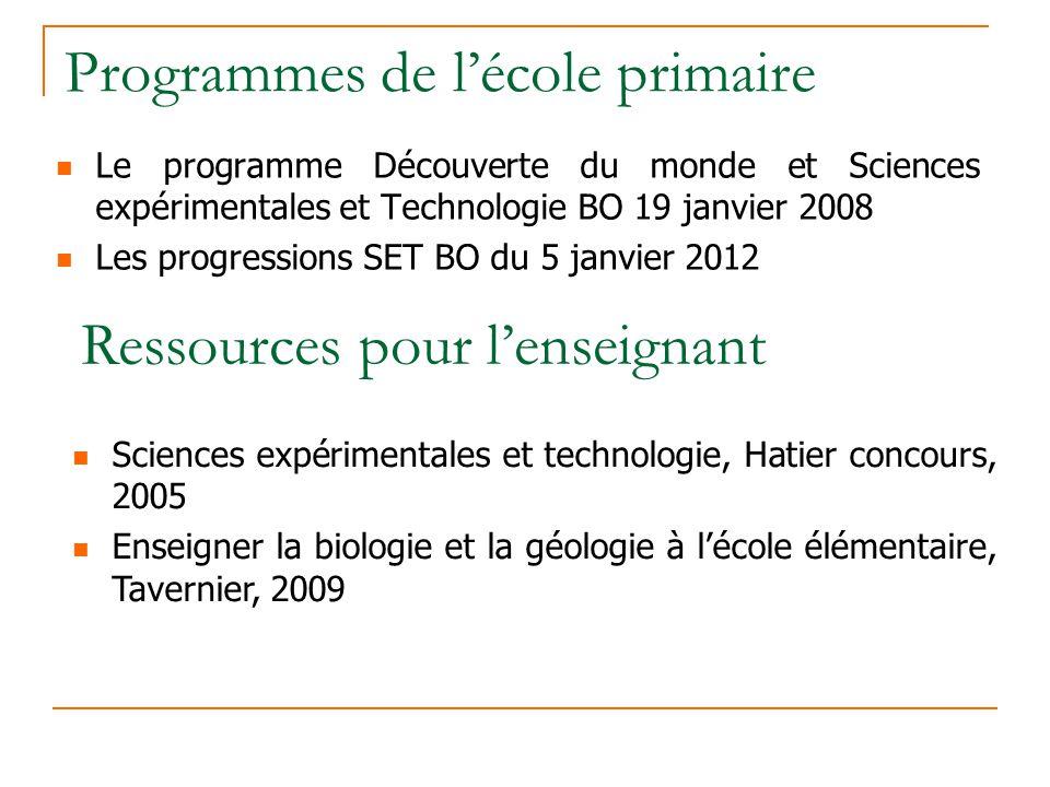 Programmes de lécole primaire Le programme Découverte du monde et Sciences expérimentales et Technologie BO 19 janvier 2008 Les progressions SET BO du