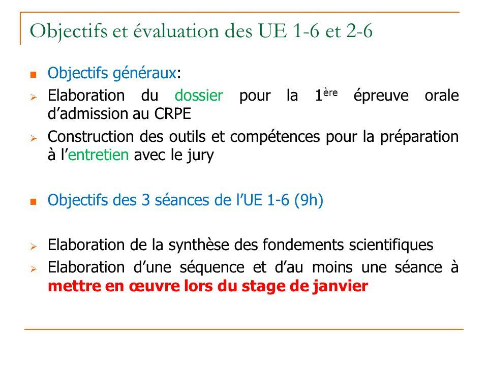 Objectifs et évaluation des UE 1-6 et 2-6 Objectifs généraux: Elaboration du dossier pour la 1 ère épreuve orale dadmission au CRPE Construction des o
