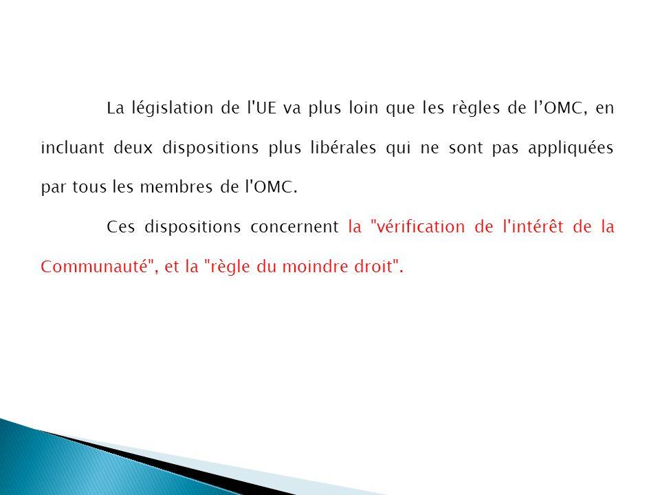 La législation de l UE va plus loin que les règles de lOMC, en incluant deux dispositions plus libérales qui ne sont pas appliquées par tous les membres de l OMC.