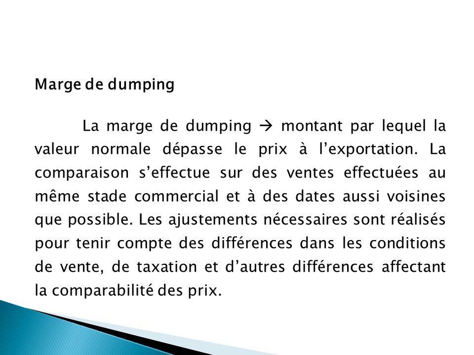 Marge de dumping La marge de dumping montant par lequel la valeur normale dépasse le prix à lexportation.