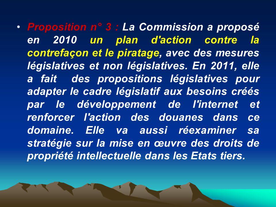 Proposition n° 3 : La Commission a proposé en 2010 un plan d'action contre la contrefaçon et le piratage, avec des mesures législatives et non législa