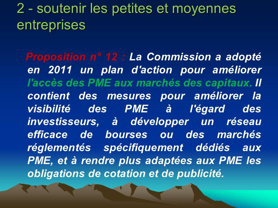 2 - soutenir les petites et moyennes entreprises Proposition n° 12 : La Commission a adopté en 2011 un plan d'action pour améliorer l'accès des PME au
