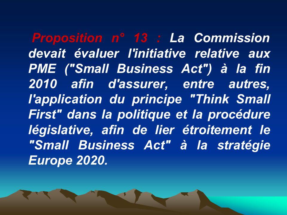 Proposition n° 13 : La Commission devait évaluer l'initiative relative aux PME (