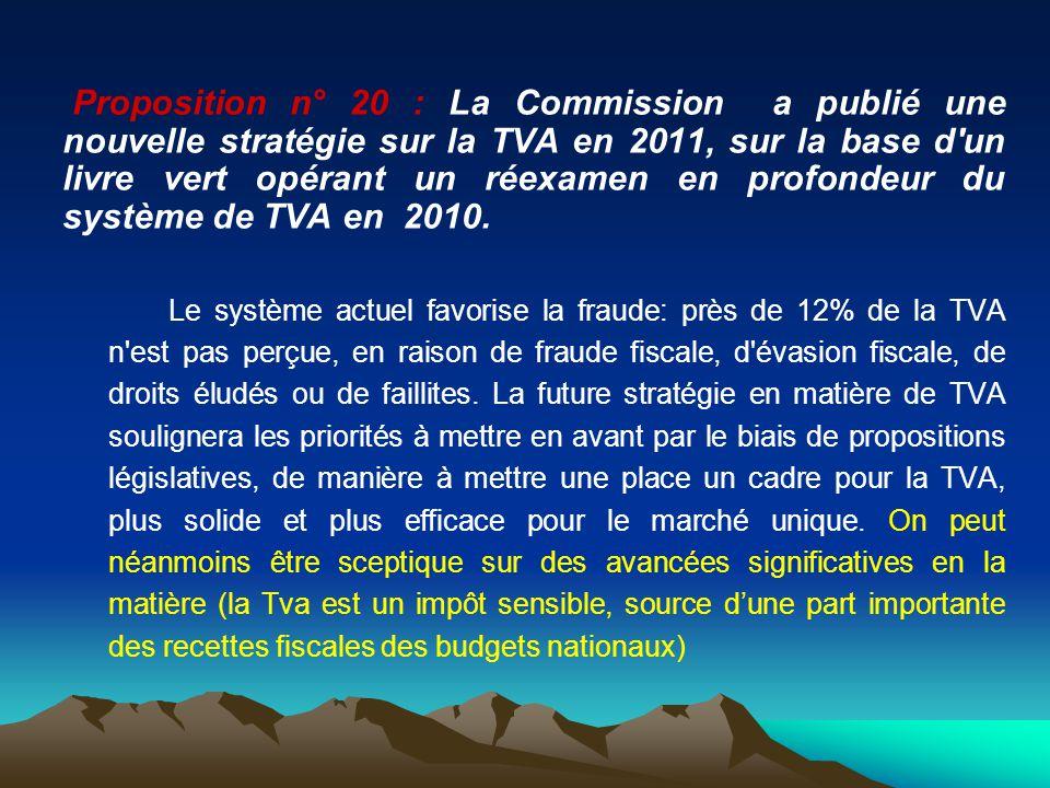 Proposition n° 20 : La Commission a publié une nouvelle stratégie sur la TVA en 2011, sur la base d'un livre vert opérant un réexamen en profondeur du
