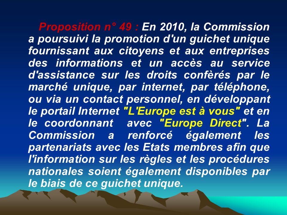 Proposition n° 49 : En 2010, la Commission a poursuivi la promotion d'un guichet unique fournissant aux citoyens et aux entreprises des informations e