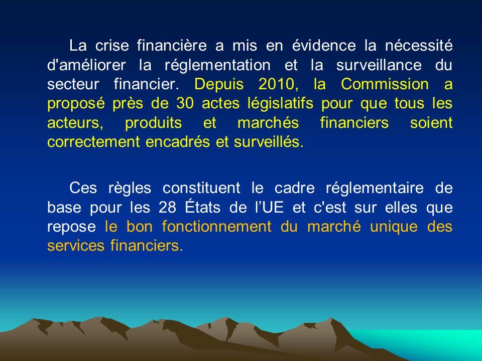 La crise financière a mis en évidence la nécessité d'améliorer la réglementation et la surveillance du secteur financier. Depuis 2010, la Commission a