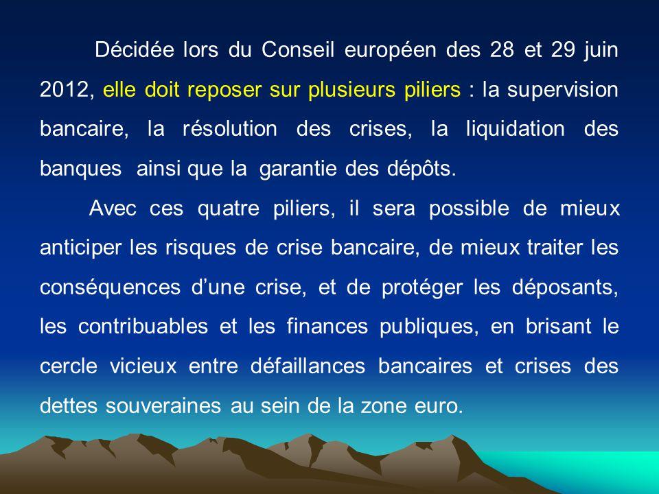 Décidée lors du Conseil européen des 28 et 29 juin 2012, elle doit reposer sur plusieurs piliers : la supervision bancaire, la résolution des crises,