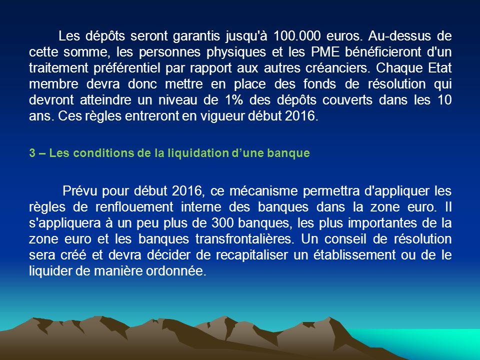 Les dépôts seront garantis jusqu'à 100.000 euros. Au-dessus de cette somme, les personnes physiques et les PME bénéficieront d'un traitement préférent