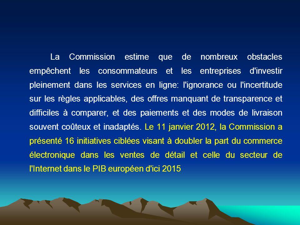 La Commission estime que de nombreux obstacles empêchent les consommateurs et les entreprises d'investir pleinement dans les services en ligne: l'igno