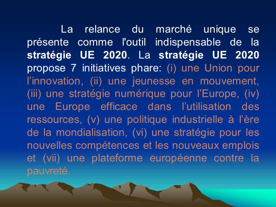 La relance du marché unique se présente comme l'outil indispensable de la stratégie UE 2020. La stratégie UE 2020 propose 7 initiatives phare: (i) une