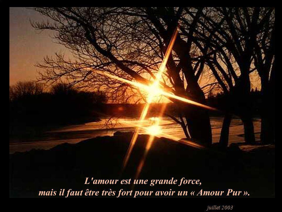 L'amour est une grande force, mais il faut être très fort pour avoir un « Amour Pur ». juillet 2003