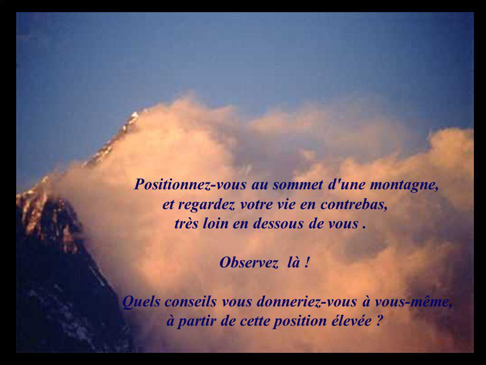 Positionnez-vous au sommet d'une montagne, et regardez votre vie en contrebas, très loin en dessous de vous. Observez là ! Quels conseils vous donneri