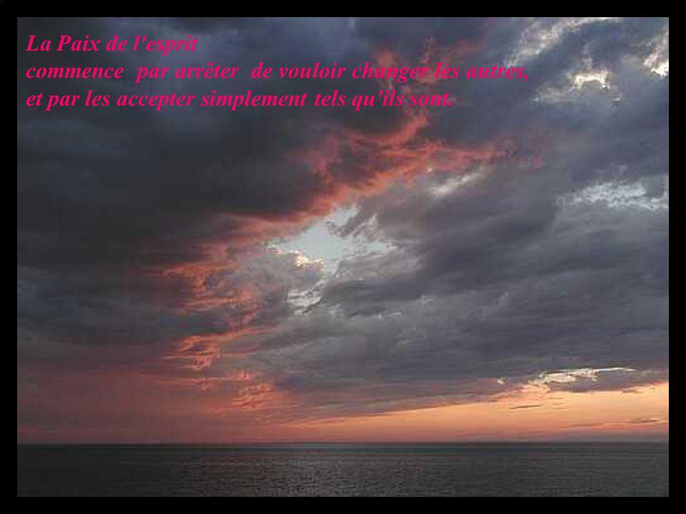 La Paix de l'esprit commence par arrêter de vouloir changer les autres, et par les accepter simplement tels qu'ils sont.