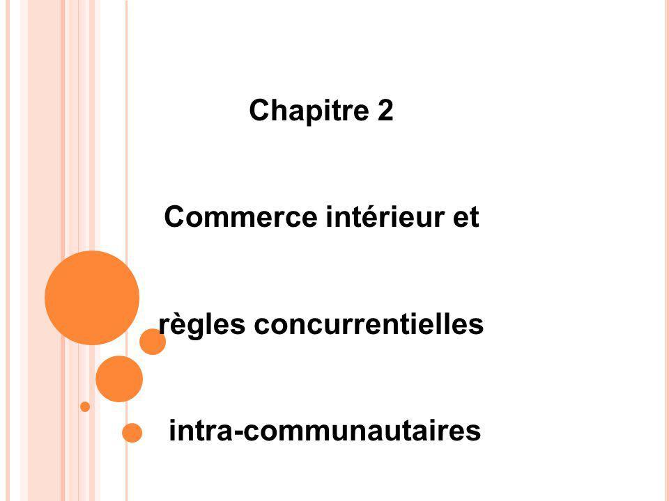 Chapitre 2 Commerce intérieur et règles concurrentielles intra-communautaires
