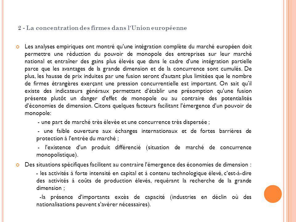 2 - La concentration des firmes dans l'Union européenne Les analyses empiriques ont montré qu'une intégration complète du marché européen doit permett