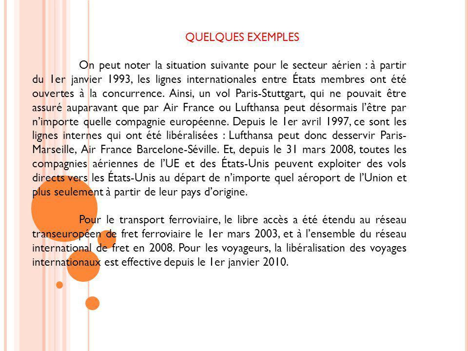QUELQUES EXEMPLES On peut noter la situation suivante pour le secteur aérien : à partir du 1er janvier 1993, les lignes internationales entre États me