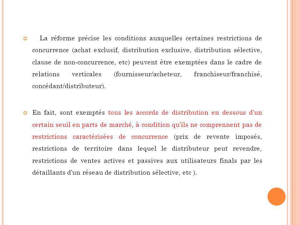 La réforme précise les conditions auxquelles certaines restrictions de concurrence (achat exclusif, distribution exclusive, distribution sélective, cl