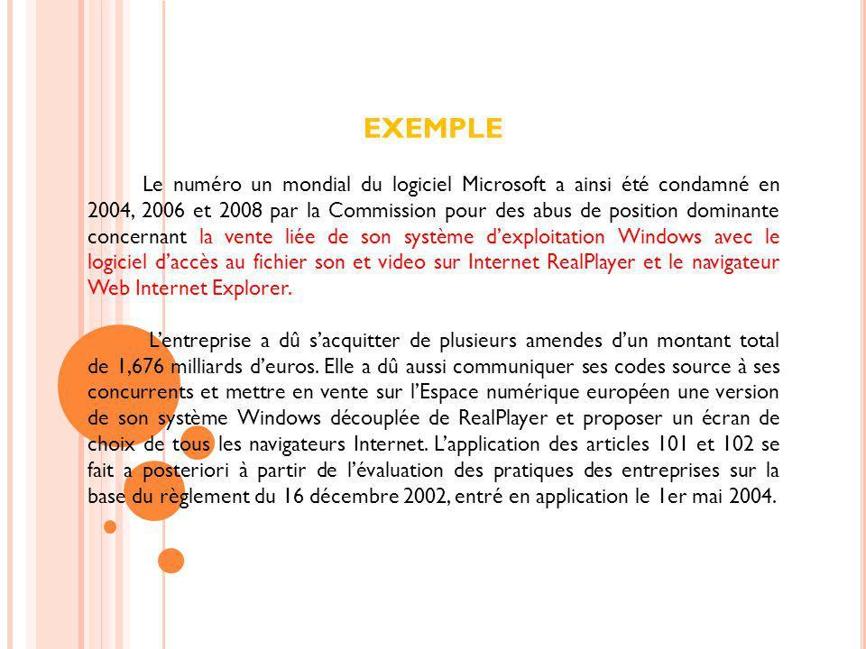 EXEMPLE Le numéro un mondial du logiciel Microsoft a ainsi été condamné en 2004, 2006 et 2008 par la Commission pour des abus de position dominante co