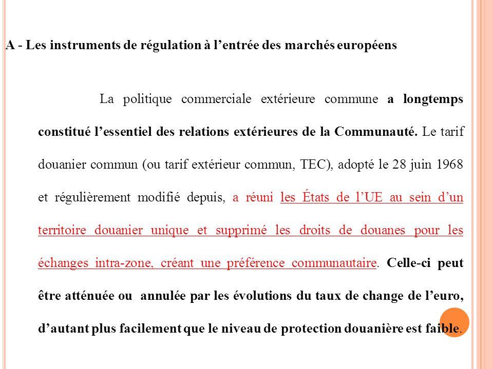 A - Les instruments de régulation à lentrée des marchés européens La politique commerciale extérieure commune a longtemps constitué lessentiel des relations extérieures de la Communauté.