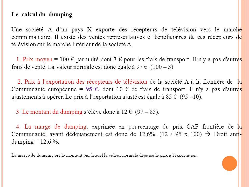 Le calcul du dumping Une société A dun pays X exporte des récepteurs de télévision vers le marché communautaire. Il existe des ventes représentatives