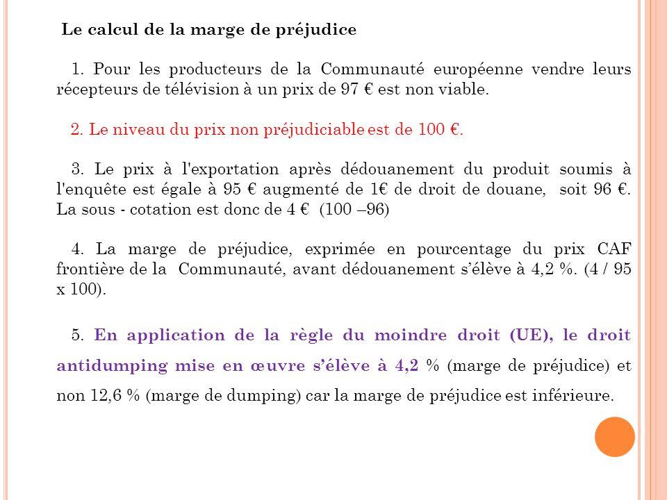 Le calcul de la marge de préjudice 1. Pour les producteurs de la Communauté européenne vendre leurs récepteurs de télévision à un prix de 97 est non v
