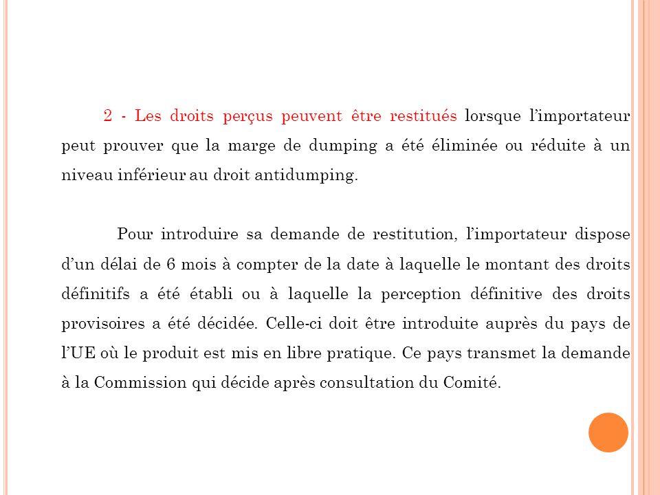 2 - Les droits perçus peuvent être restitués lorsque limportateur peut prouver que la marge de dumping a été éliminée ou réduite à un niveau inférieur