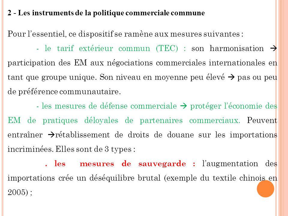 2 - Les instruments de la politique commerciale commune Pour lessentiel, ce dispositif se ramène aux mesures suivantes : - le tarif extérieur commun (TEC) : son harmonisation participation des EM aux négociations commerciales internationales en tant que groupe unique.