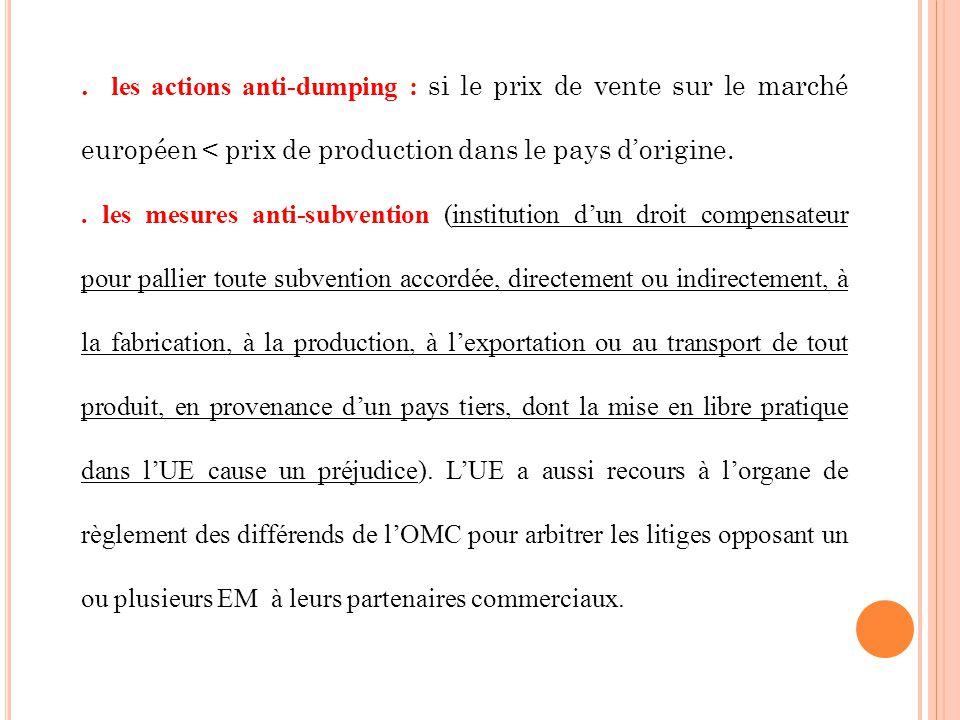 . les actions anti-dumping : si le prix de vente sur le marché européen < prix de production dans le pays dorigine.. les mesures anti-subvention (inst