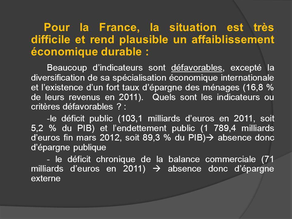 Pour la France, la situation est très difficile et rend plausible un affaiblissement économique durable : Beaucoup dindicateurs sont défavorables, excepté la diversification de sa spécialisation économique internationale et lexistence dun fort taux dépargne des ménages (16,8 % de leurs revenus en 2011).