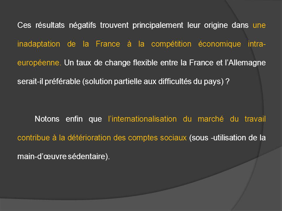 Ces résultats négatifs trouvent principalement leur origine dans une inadaptation de la France à la compétition économique intra- européenne. Un taux