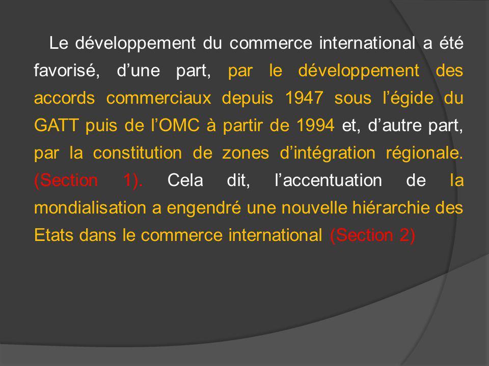 Le développement du commerce international a été favorisé, dune part, par le développement des accords commerciaux depuis 1947 sous légide du GATT pui