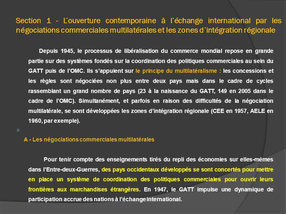 Section 1 - Louverture contemporaine à léchange international par les négociations commerciales multilatérales et les zones dintégration régionale Dep