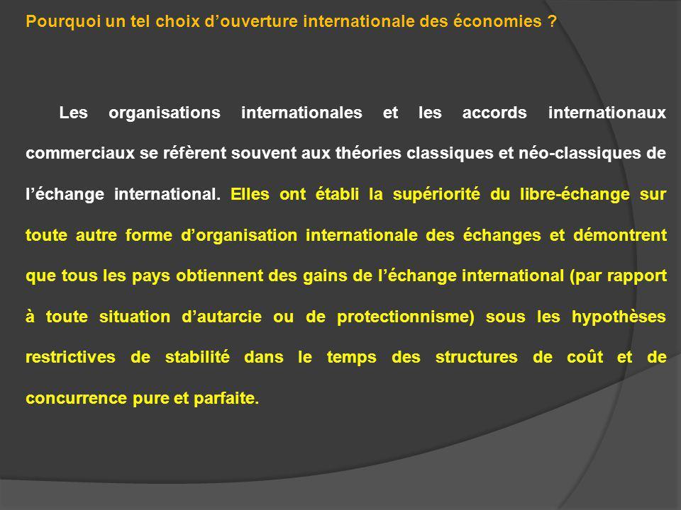Pourquoi un tel choix douverture internationale des économies ? Les organisations internationales et les accords internationaux commerciaux se réfèren