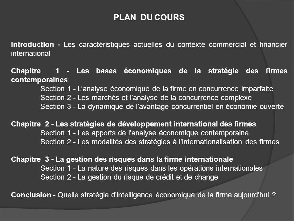 PLAN DU COURS Introduction - Les caractéristiques actuelles du contexte commercial et financier international Chapitre 1 - Les bases économiques de la