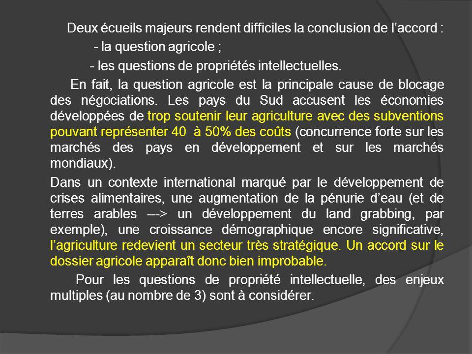 Deux écueils majeurs rendent difficiles la conclusion de laccord : - la question agricole ; - les questions de propriétés intellectuelles. En fait, la