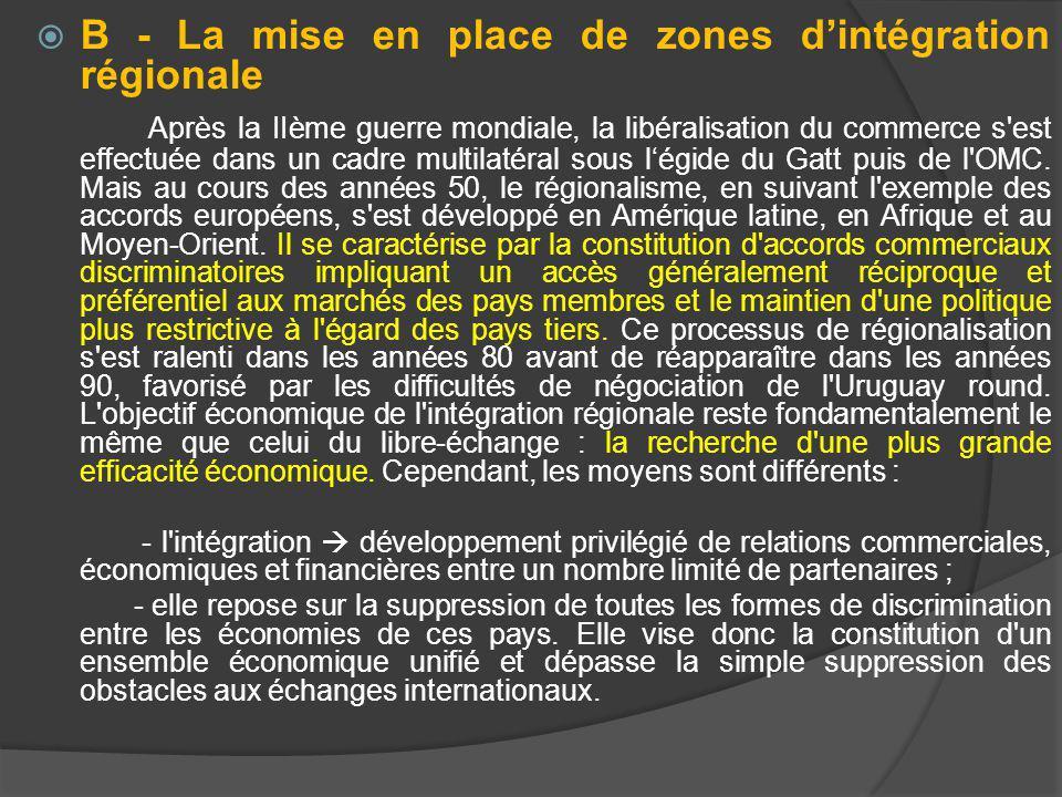 B - La mise en place de zones dintégration régionale Après la IIème guerre mondiale, la libéralisation du commerce s est effectuée dans un cadre multilatéral sous légide du Gatt puis de l OMC.