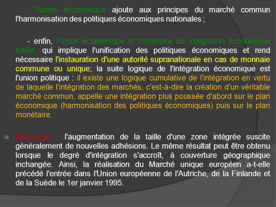- l union économique ajoute aux principes du marché commun l harmonisation des politiques économiques nationales ; - enfin, l union économique et monétaire ou intégration économique totale, qui implique l unification des politiques économiques et rend nécessaire l instauration d une autorité supranationale en cas de monnaie commune ou unique; la suite logique de l intégration économique est l union politique : il existe une logique cumulative de l intégration en vertu de laquelle l intégration des marchés, c est-à-dire la création d un véritable marché commun, appelle une intégration plus poussée d abord sur le plan économique (harmonisation des politiques économiques) puis sur le plan monétaire.