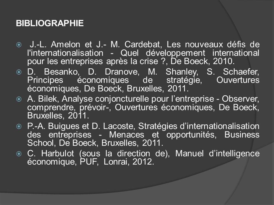 BIBLIOGRAPHIE J.-L. Amelon et J.- M. Cardebat, Les nouveaux défis de l'internationalisation - Quel développement international pour les entreprises ap