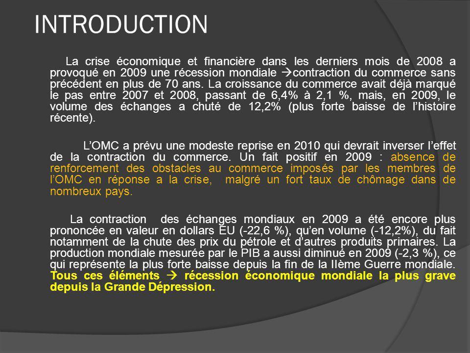 INTRODUCTION La crise économique et financière dans les derniers mois de 2008 a provoqué en 2009 une récession mondiale contraction du commerce sans précédent en plus de 70 ans.