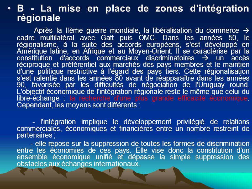 B - La mise en place de zones dintégration régionale Après la IIème guerre mondiale, la libéralisation du commerce cadre multilatéral avec Gatt puis OMC.
